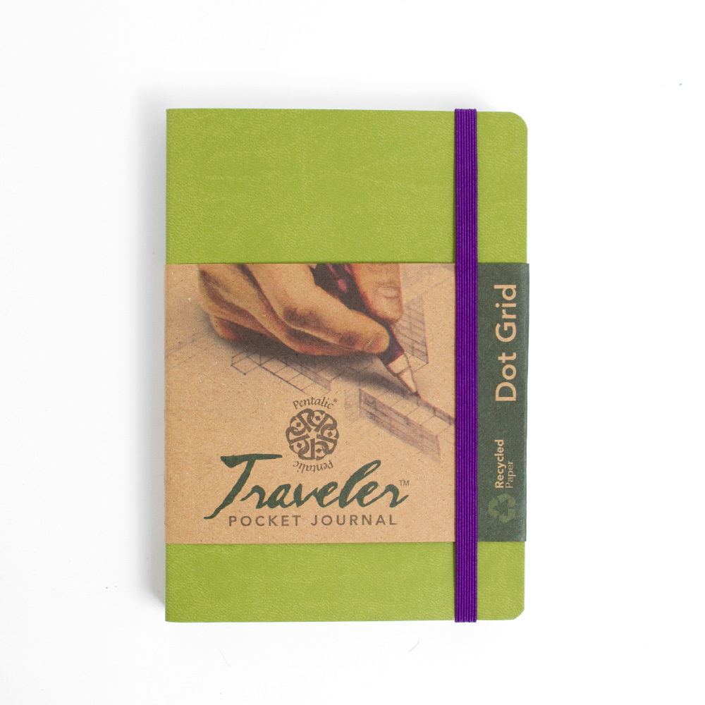 "Pentalic, Traveler, Journal, 6""x4"", Dot Grid, Olive"