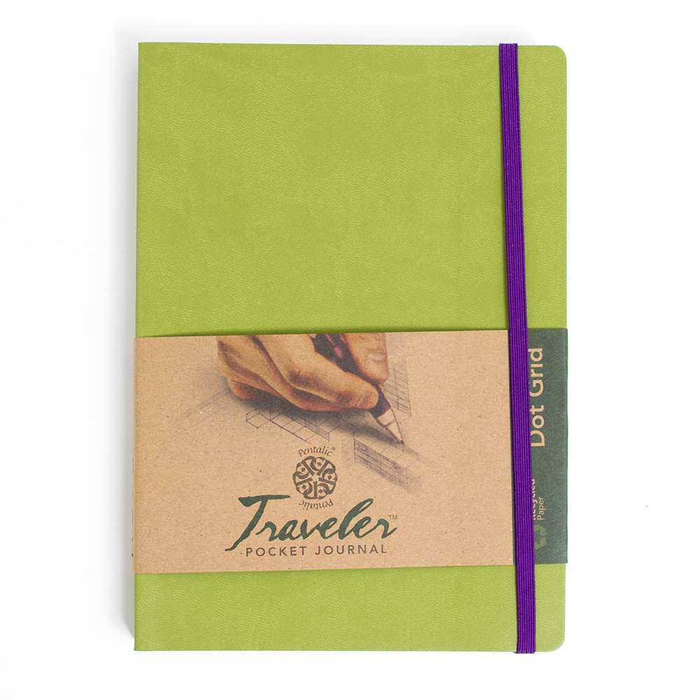 "Pentalic, Traveler, Journal, 8""x6"", Dot Grid, Olive"