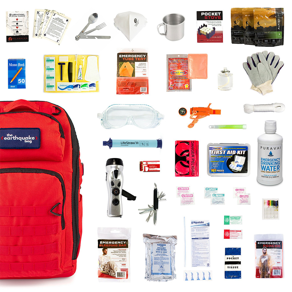 Redfora, Earthquake Preparedness Bag, Premier, 1 Person, 3 Days, Spread