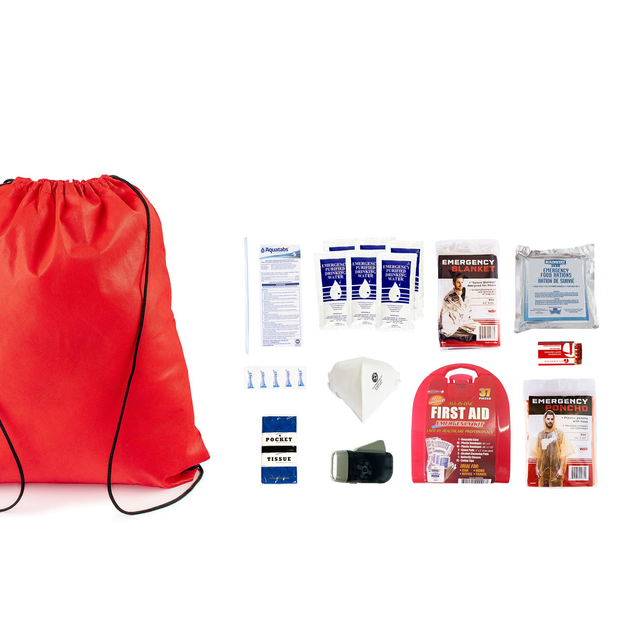 Redfora, Earthquake Preparedness Bag, Starter, 1 Person, 3 Days, Spread