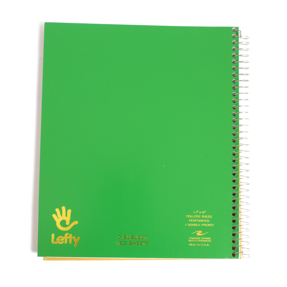 Roaring Spring, Lefty, 3-Subject, Spiral, Notebook