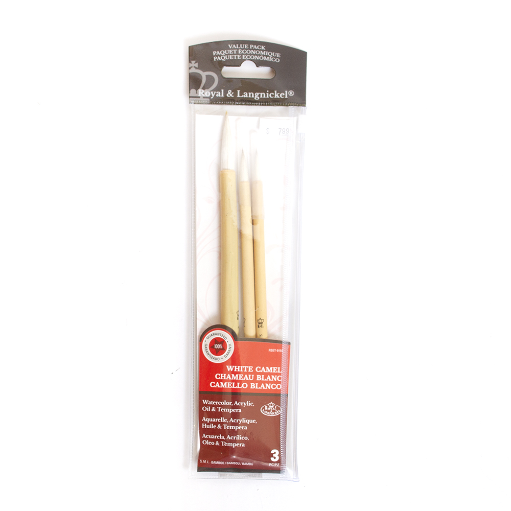 Royal Brush, Zip n' Close, Bamboo Brush, 3 Count