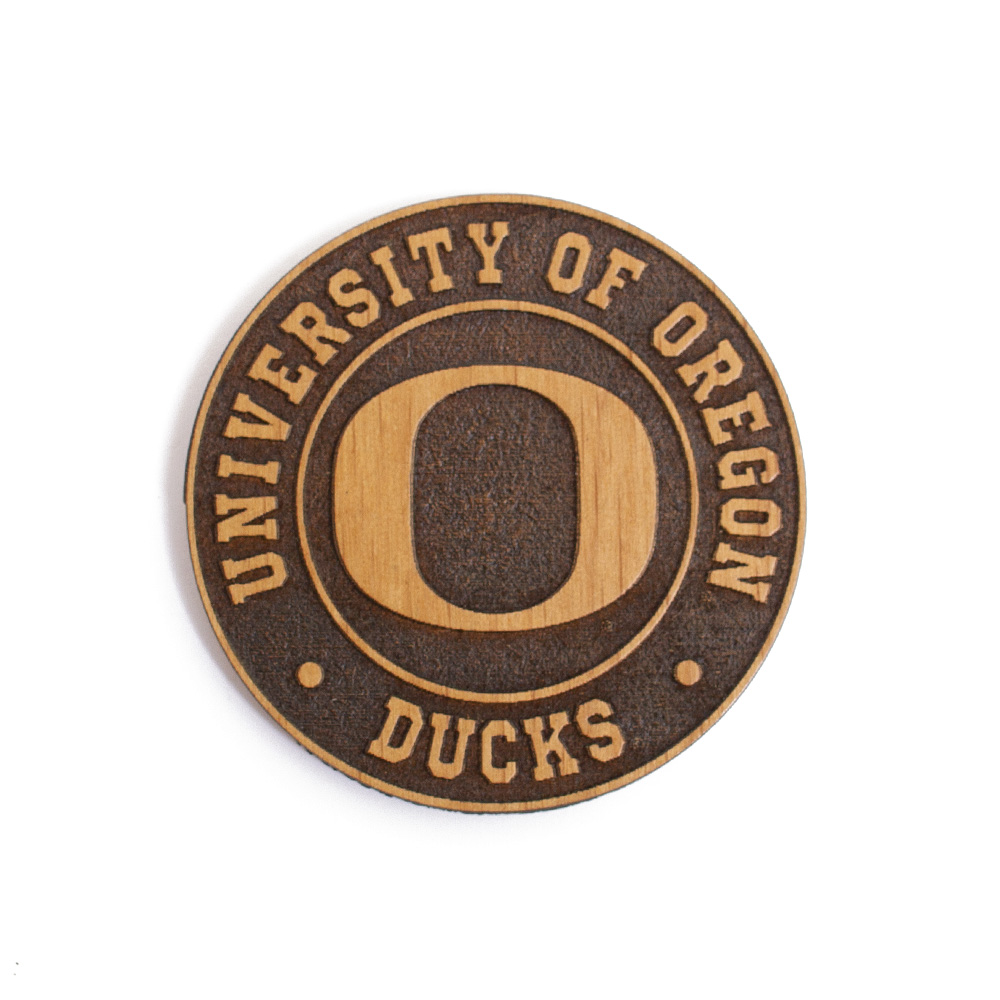 O-logo, University of Oregon, Round, Wood, Timeless Etchings, Magnet