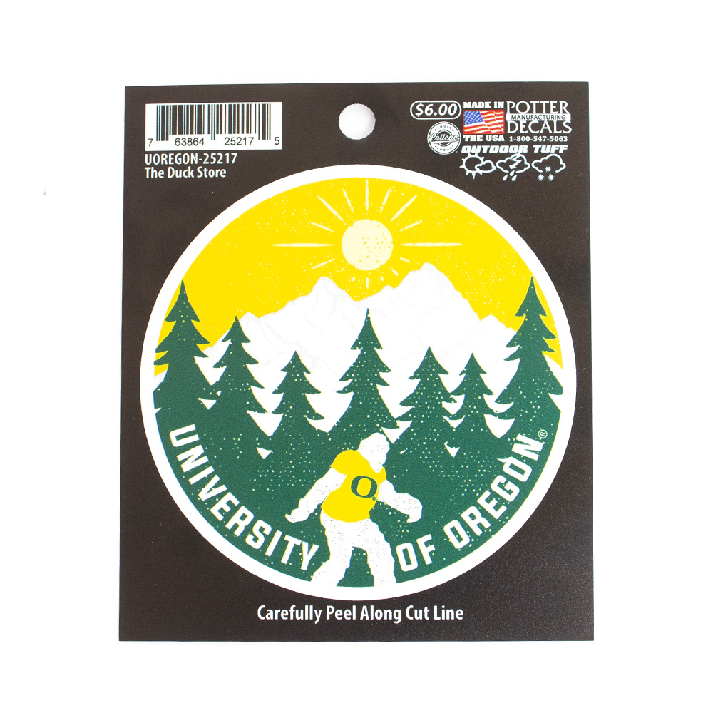 University of Oregon, O-logo, Sasquatch, Bigfoot, Sticker