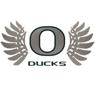 Classic Oregon O, Ducks, WINGS, Decal, 14""