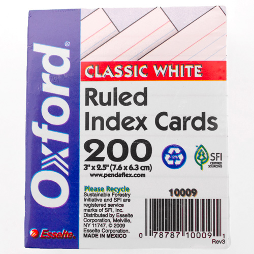 White Oxford Mini Index Cards
