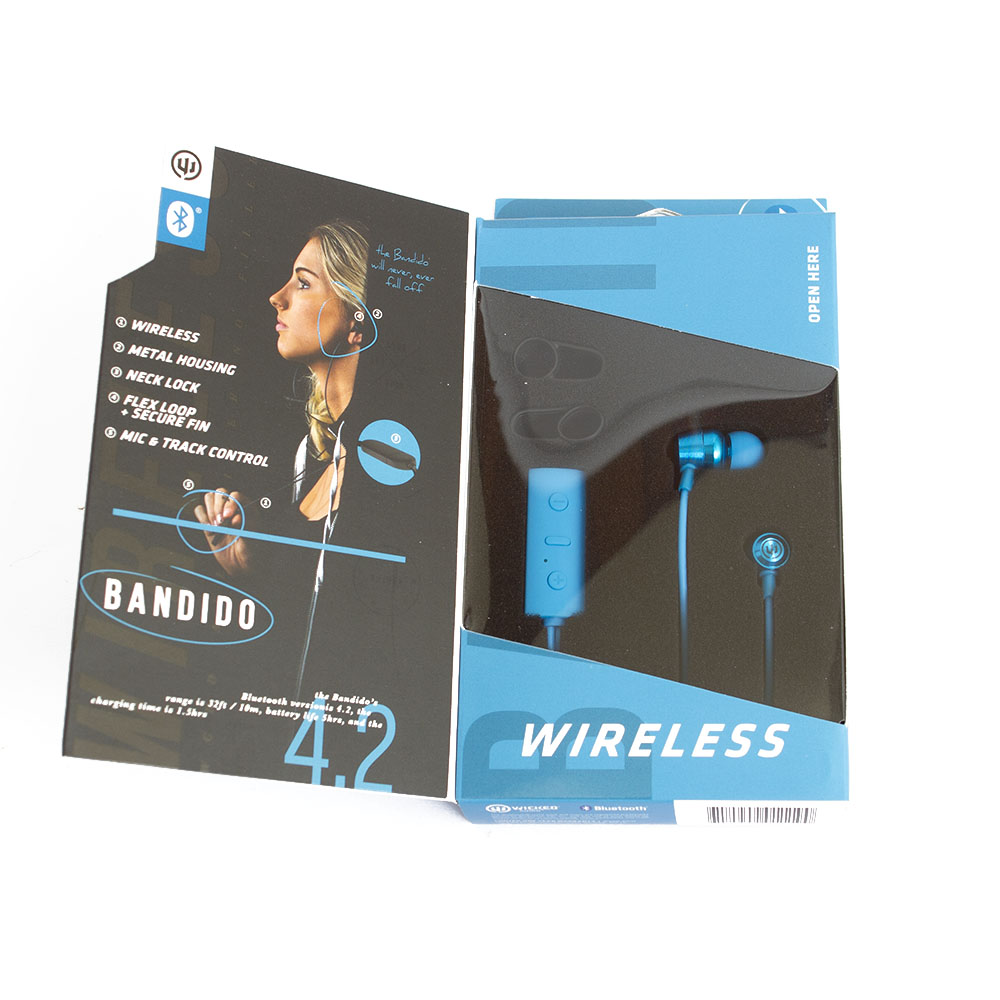 Wicked, Bandito, Bluetooth, Earbud, Blue, Box