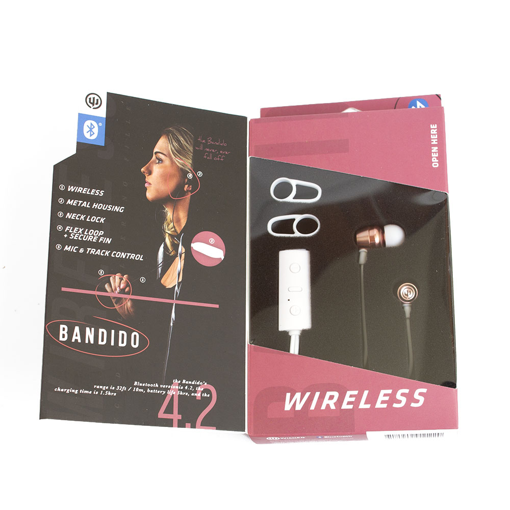Wicked, Bandito, Bluetooth, Earbud, Rose Gold, Box