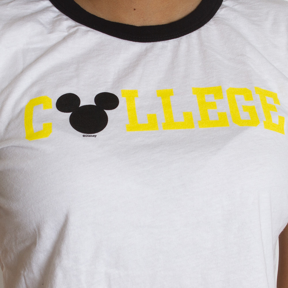 College, Mickey Mouse, Ringer, Cropped, T-Shirt
