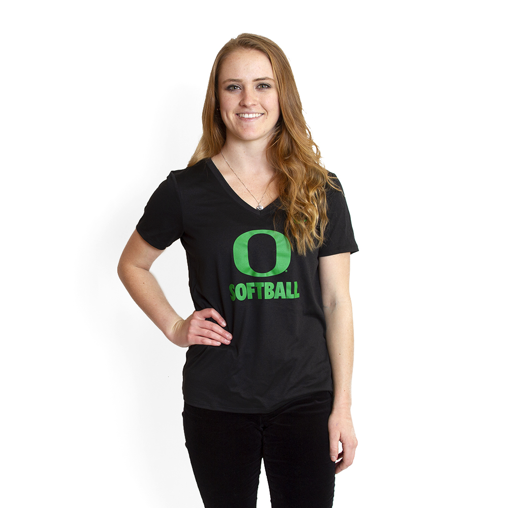 Classic Oregon O, Women's, Nike, Softball, Dri-FIT, V-Neck, T-Shirt