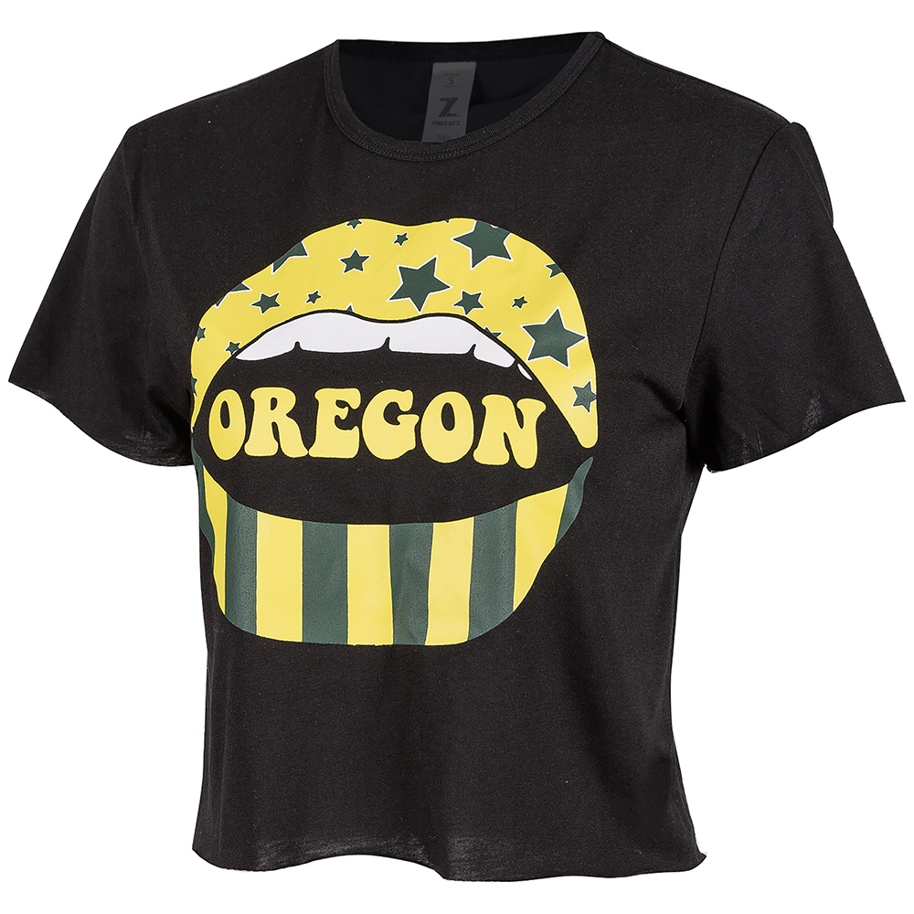 Oregon, Women's, Zoozatz, Stones Lips, Crop, Tee