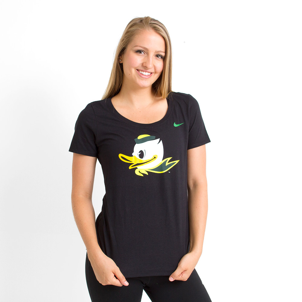Fighting Duck, Basic, Nike, Scoop Neck, T-Shirt, Black