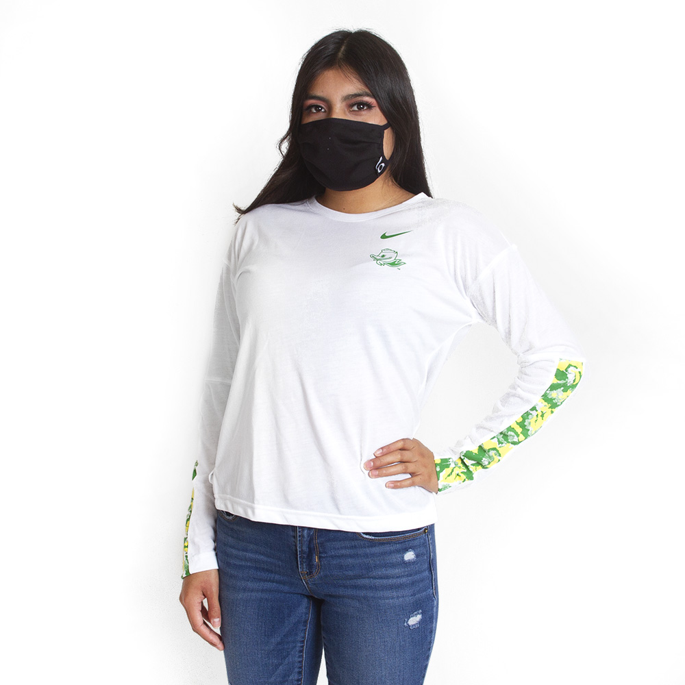 Women's, Fighting Duck, Nike, Floral, Long Sleeve, T-Shirt