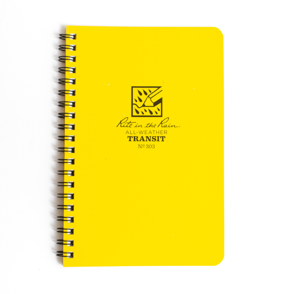 Yellow Cover Rite in the Rain Spiral Transit Field Pages