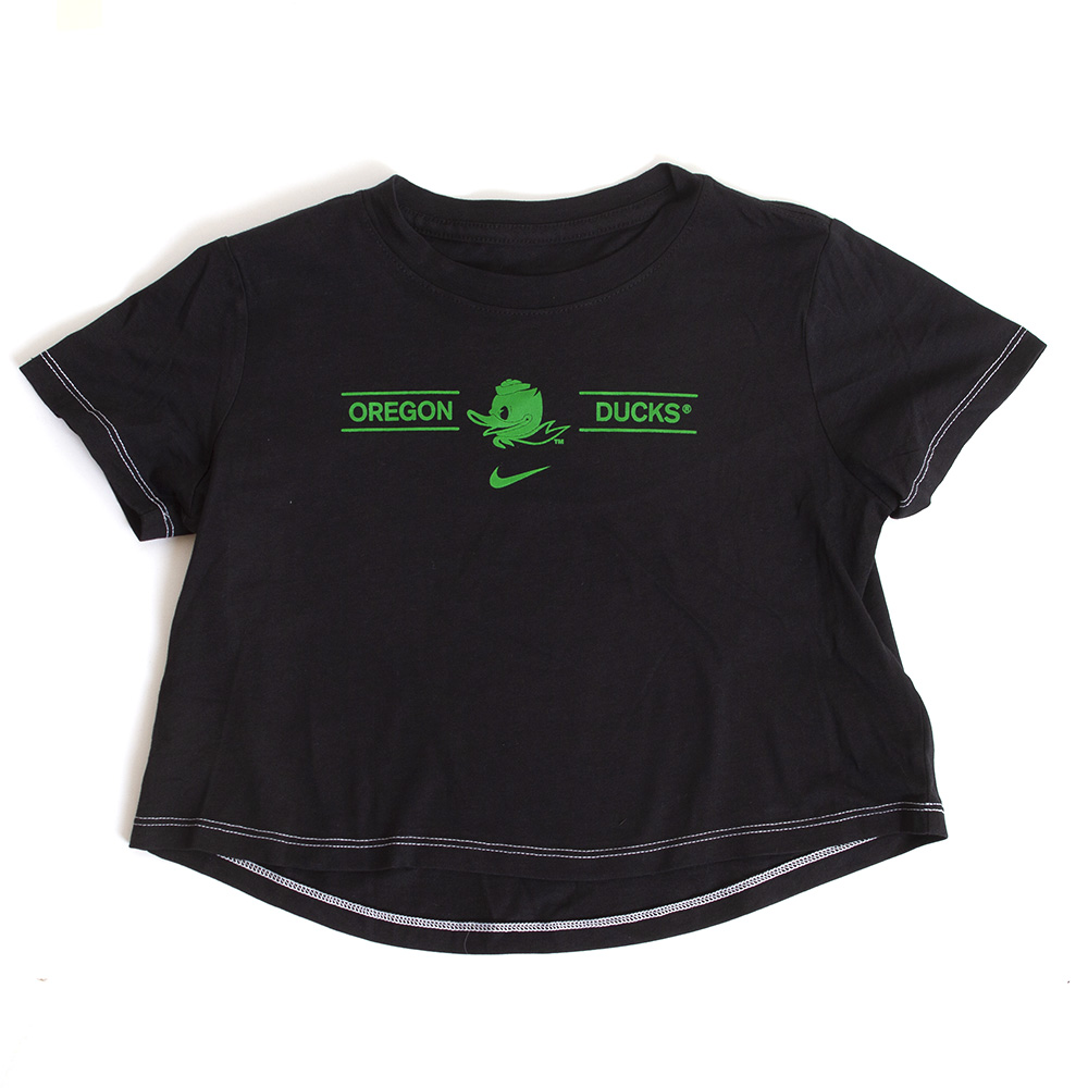 Fighting Duck, Oregon Ducks, Nike, Girls, Youth, Crop, T-Shirt