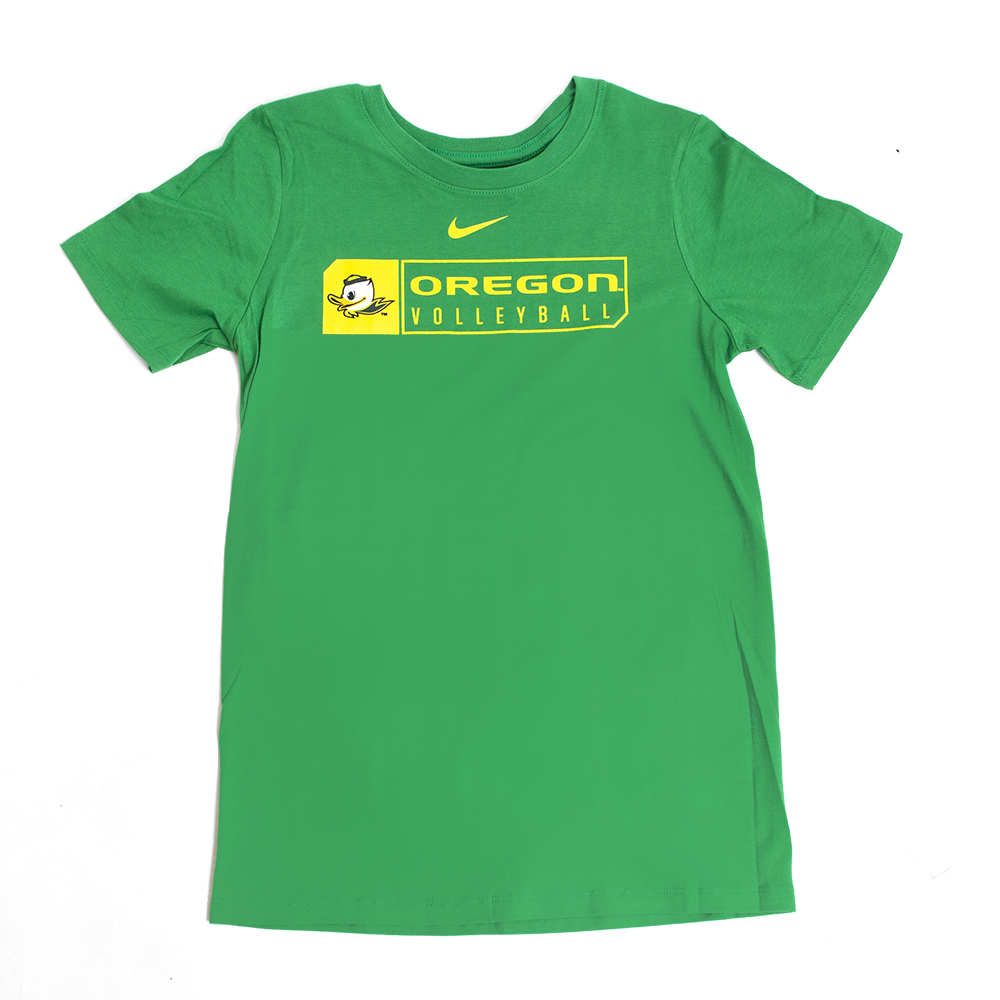 3a4659a569b Youth Kelly Green Nike Duck Face Oregon Volleyball Tee